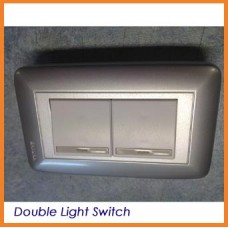 Silver Satin Sakura Double Light Switch